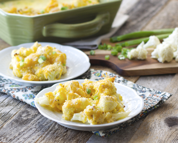 Cheesy Cauliflower Casserole in a creamy white wine sauce! #glutenfree www.maebells.com