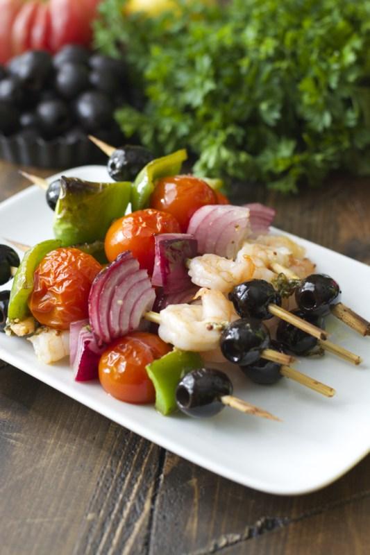Mediterranean Shrimp Skewers! These healthy skewers come together in minutes!