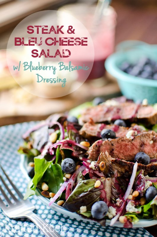 Steak Bleu Cheese Salad with Blueberry Balsamic Dressing