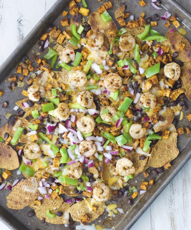 Try Jerk Shrimp and Spicy Sweet Potato Nachos for a fun dinner loaded with flavor!