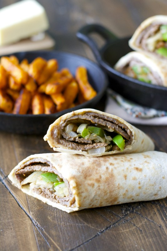 Loaded Philly Cheese Steak Wraps! Ready in just 15 minutes and packed with flavor!! (glutenfree)