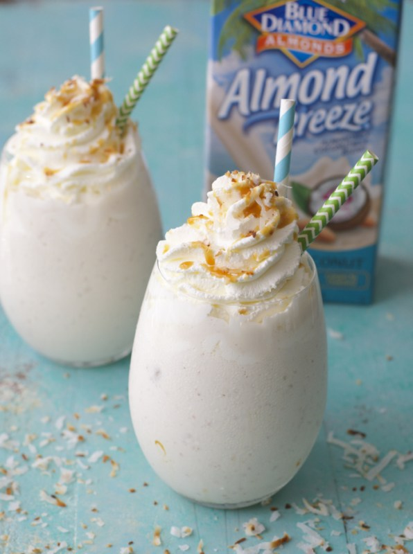 This Salted Caramel Toasted Coconut Shake is packed with freshly toasted coconut, Vanilla Coconut Almond Milk for the ultimate Summer treat!