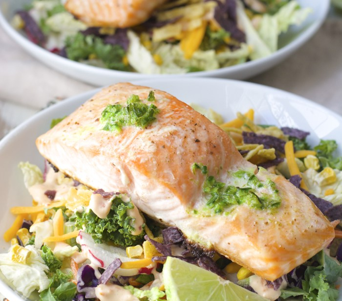 FOUR ingredient Roasted Salmon with Jalapeño Lime Butter! Healthy and delicious!