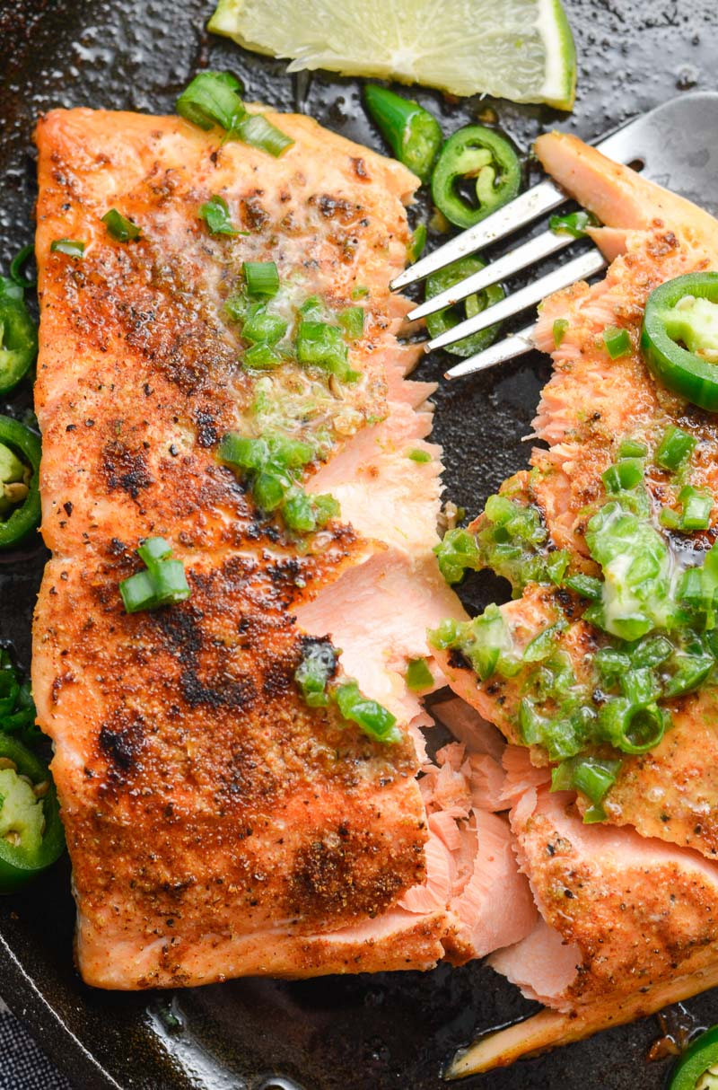 This Salmon with Jalapeno Lime Butter is the perfect quick and easy low carb dinner. At less than one net carb per serving this recipe fits perfectly within a keto diet!