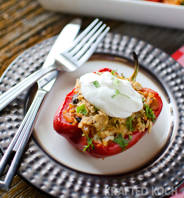 Chipotle Chicken Rice Stuffed Peppers
