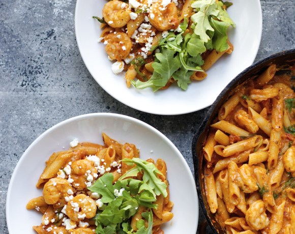 One Pan Shrimp Pasta with Feta and Arugula