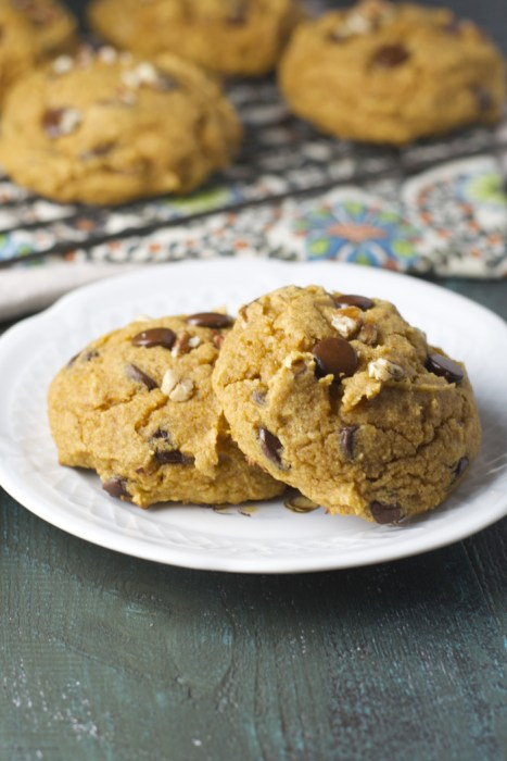 Soft and Chewy Pumpkin Spiced Cookies are packed with sweet dark chocolate and crunchy pecans!