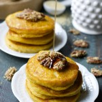 Pumpkin Spice Pancakes with Honey Roasted Pecans