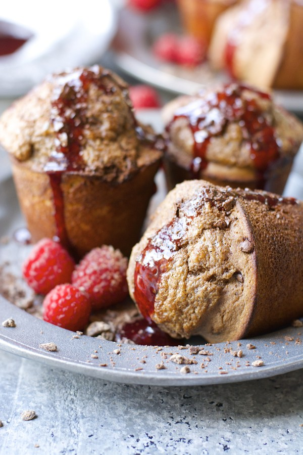 Dark Chocolate Popovers with Raspberry Syrup! Totally gluten free and very easy!
