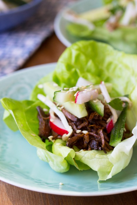 Slow Cooker Korean Beef Lettuce Wraps with a Sesame Cucumber Salsa