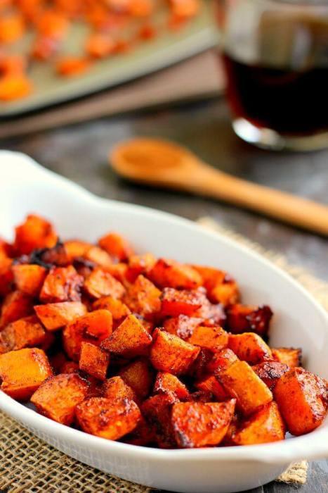 Roasted Maple Cinnamon Sweet Potatoes