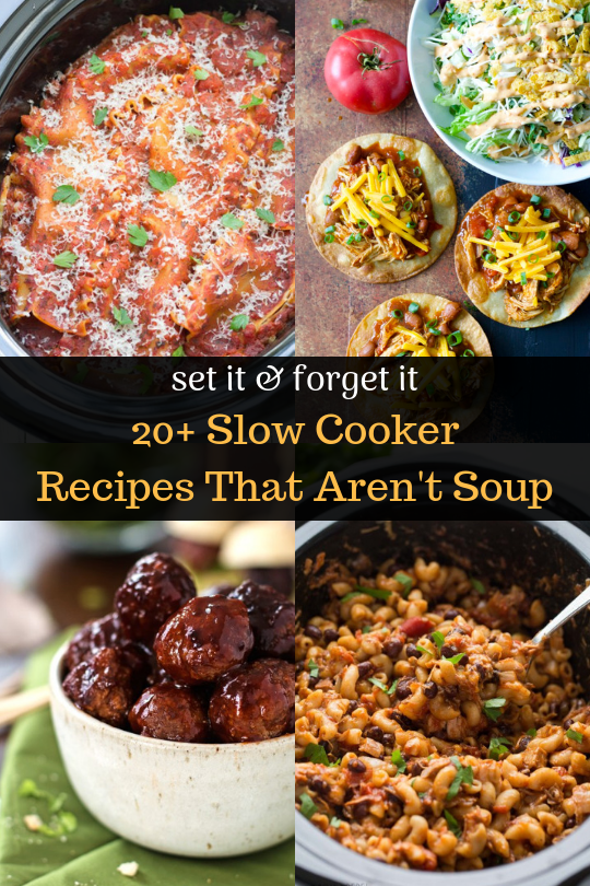 20 Easy Slow Cooker Recipes That Aren't Soup! Hearty slow cooker recipes your whole family will love! Weeknight cooking made easy!