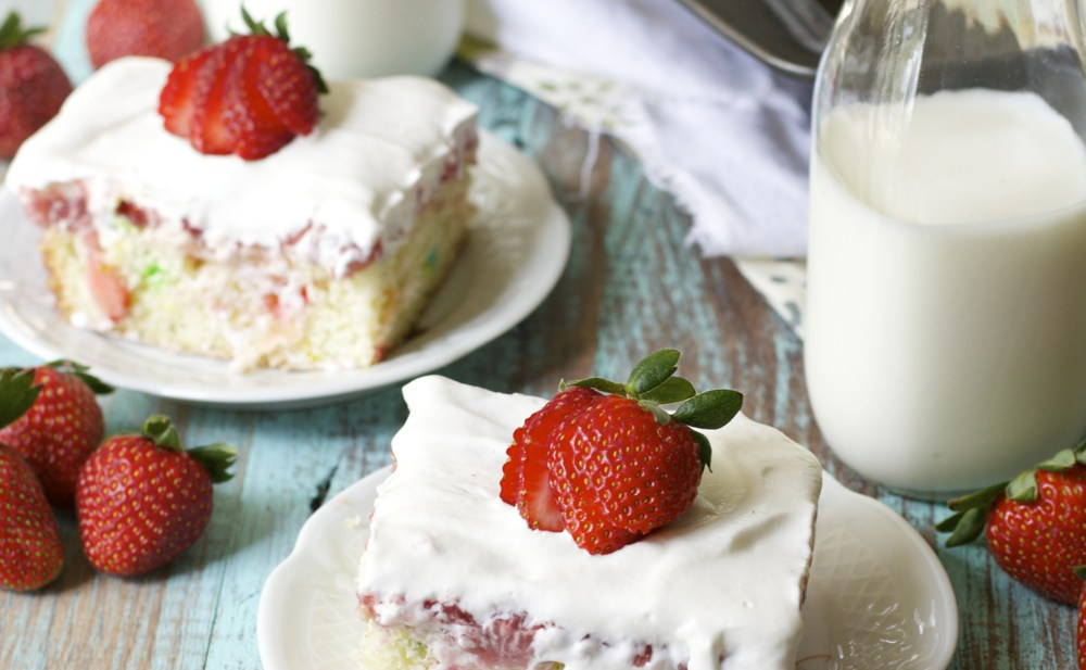 This super simple Funfetti Strawberry Poke Cake is totally gluten free and perfect for Spring!