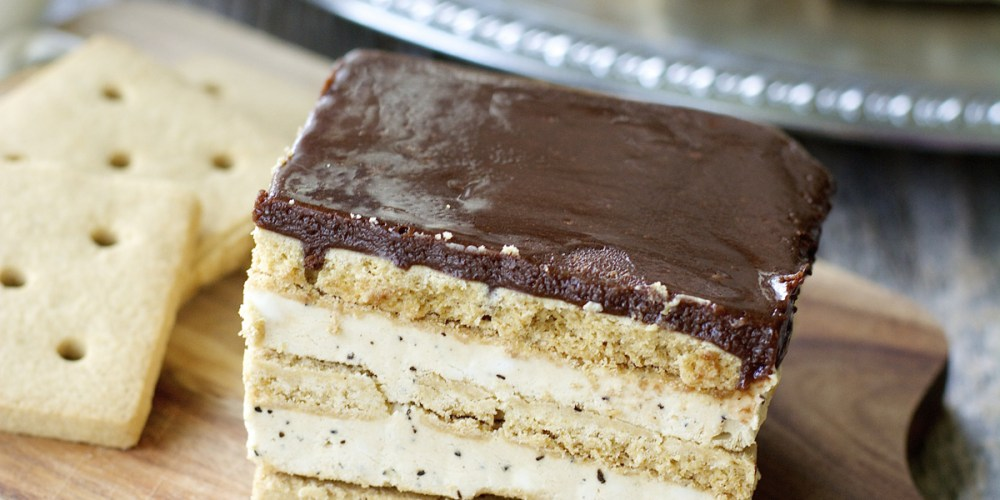 Creamy mocha filling is sandwiched in between graham crackers and topped with rich dark chocolate! This easy five ingredient Mocha Icebox Cake is the perfect Summer treat!