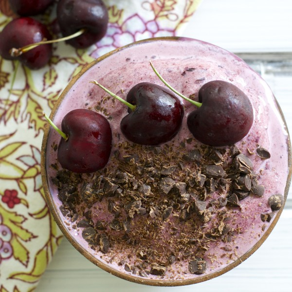 These sweet and creamy Chocolate Cherry Smoothie Bowls contain just four healthy ingredients!