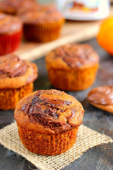 Nutella Stuffed Pumpkin Muffins
