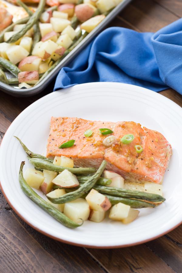 Honey Garlic Salmon and Vegetables Sheet Pan Dinner