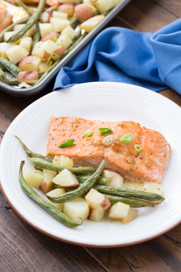 Honey Garlic Salmon and Vegetables Sheet Pan Dinner