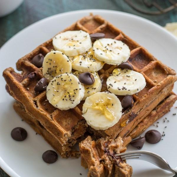 Flourless Peanut Butter Protein Waffles