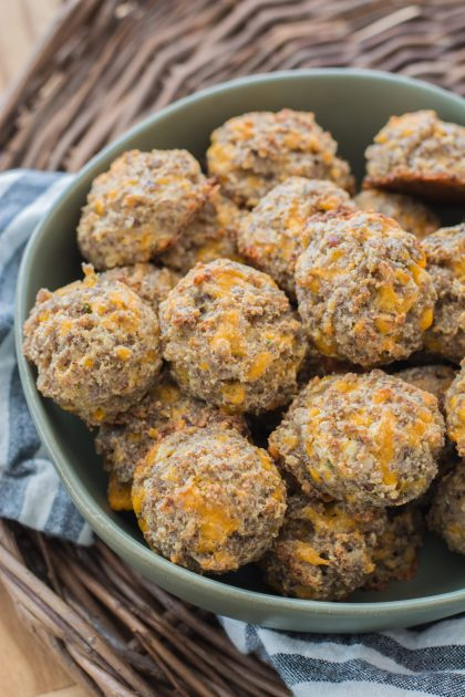 Easy and delicious Cheddar Ranch Keto Sausage Balls are the perfect Keto appetizer! Less than one net carb per ball! #keto #lowcarb