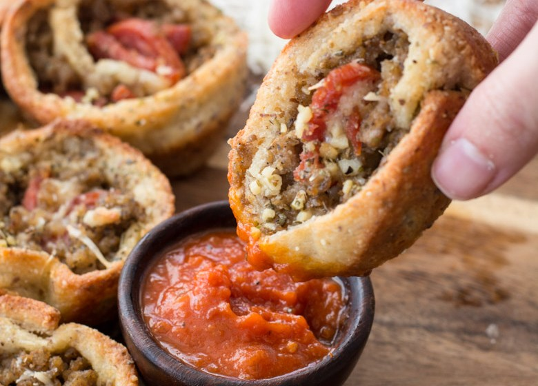 These easy Keto Pizza Rolls are loaded with Italian sausage and pepperoni! The perfect low carb, keto appetizer or easy dinner! #keto