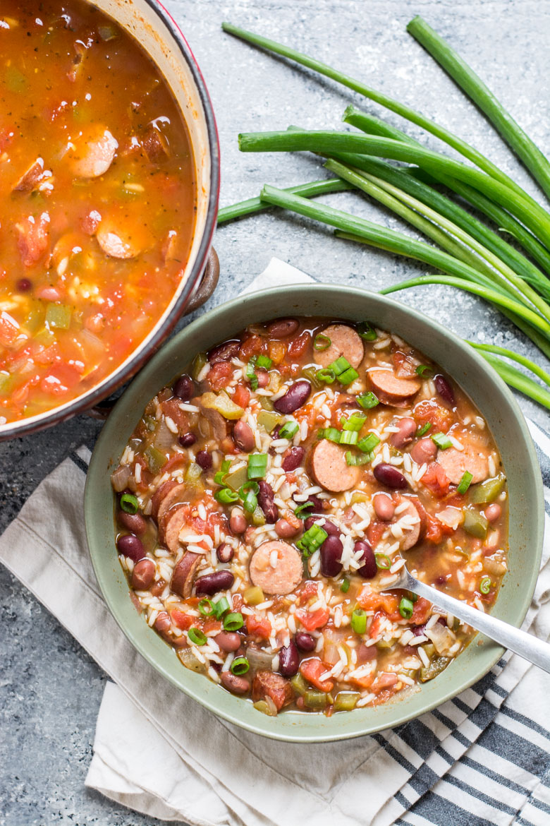 This easy Andouille Sausage with Red Beans and Rice is an easy one pot meal perfect for busy weeknights!  #glutenfree #comfortfood