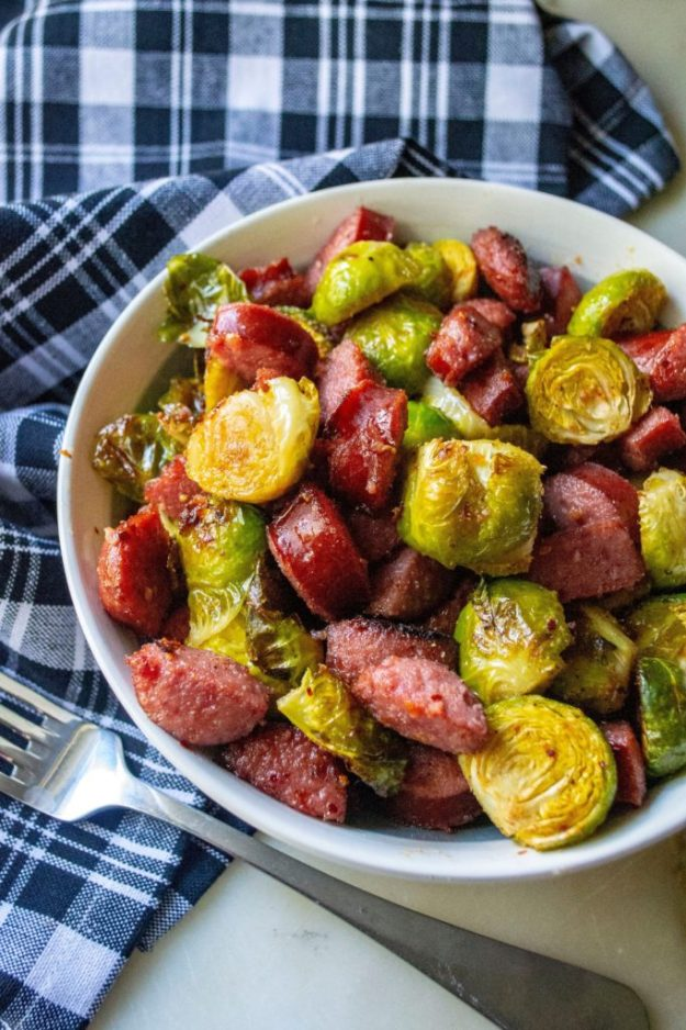 Roasted Brussel Sprouts and Kielbasa