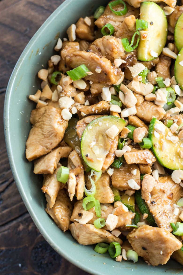 This Keto Sesame Chicken Stir Fry features thinly sliced chicken and zucchini with a rich Asian sauce. At just 2 net carbs per serving and ready in 30 minutes this is the ultimate easy low carb meal! #keto