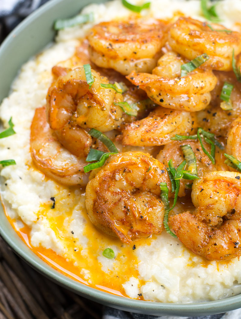 This cheesy Keto Shrimp and Grits recipe is the ultimate low carb comfort food! At under 5 net carbs per serving this will be a new favorite!