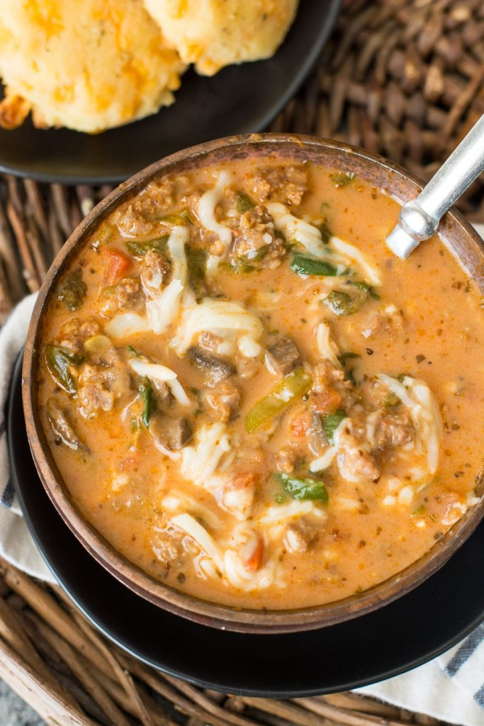 Instant Pot Pizza Soup (keto + low carb)