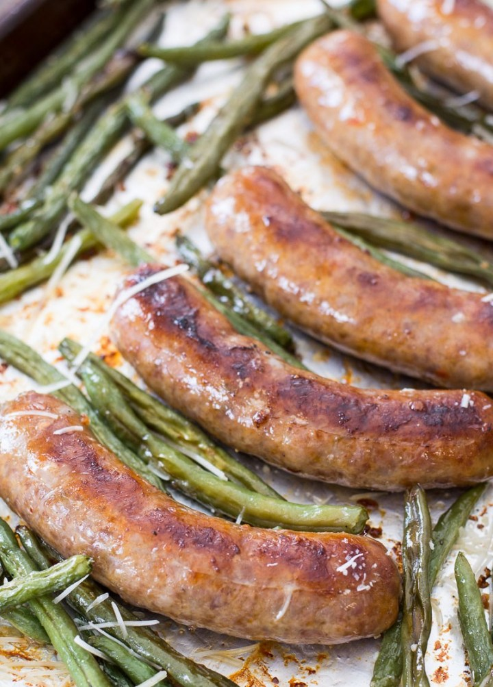 Sausage and Green Bean Sheet Pan Dinner (keto + low carb)
