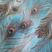 Estampa- pena pavão fundo azul- Ref 09 00 35 0 04