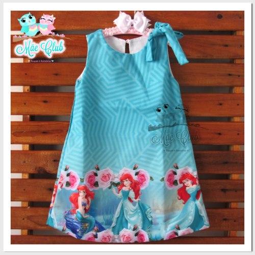 vestido tematico pequena sereia tubinho azul