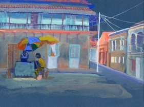 Place Gabar, Rufisque, gouache sur papier bleu