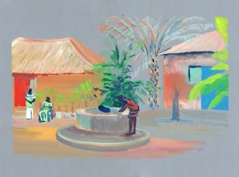 Le puit chez Omar, Niaguis, Casamance, gouache sur papier gris clair