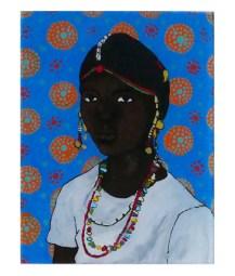 peinture sur verre jeune fille Kédougou, Sénégal