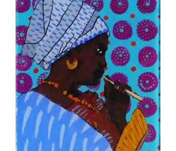 peinture sur verre jeune fille Peul Sénégal