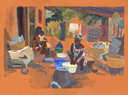 La mère et la soeur d'Omar préparant le repas, Niguis,Casamance, gouache sur papier orange