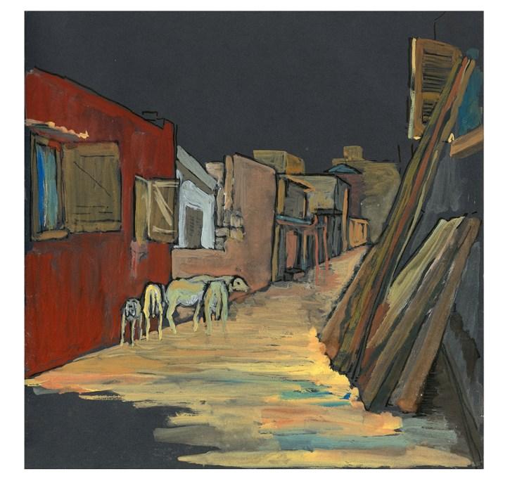 Moutons dans une ruelle, Yoff, Dakar, gouache sur papier gris