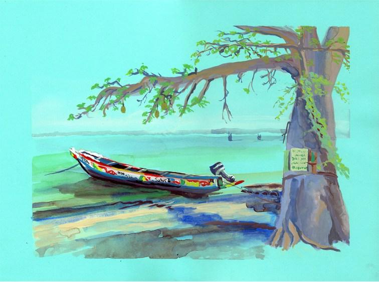 Pirogue à Carabane, Casamance, Mosquée toucouleur de Rufisque, gouache sur papier bleu