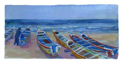 Pirogues sur la plage de yoff 2, Dakar, encre et gouache sur papier blanc