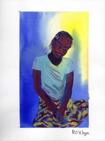 Portrait de Rokya de Niaguis, Casamance, encre et gouache sur papier blanc