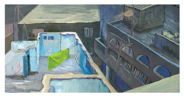 Vue depuis le toit, à Yoff, Dakar, gouache sur papier gris