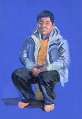 gouache sur papier bleu 24x31 cm