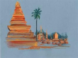 Ruines temples Sukhothai gouache sur papier gris, 32x24 cm