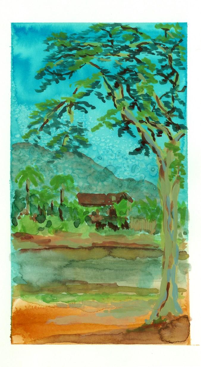 Arbre au bord du fleuve, Ta Ton, encre et gouache sur papier blanc, 16x25 cm