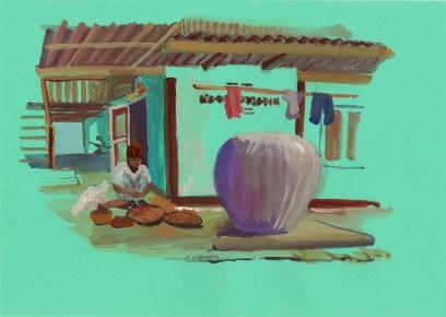 Village de Huay Tom, gouache sur papier bleu, 32x24 cm