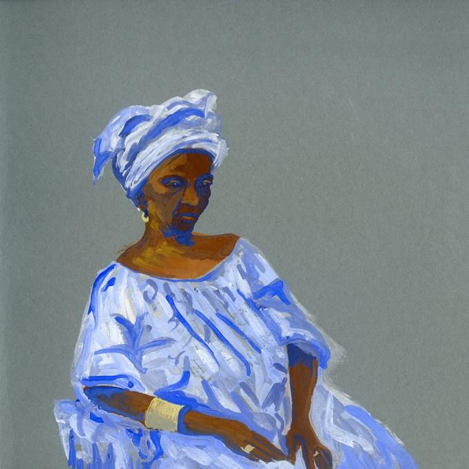 Portrait de Sohna Sall, Dakar, gouache sur papier gris