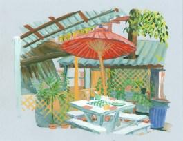 Restaurant à Bosang, gouache sur papier gris, 32x24 cm