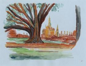 Arbre et temples de Sukhothai gouache sur papier gris clair, 32x24 cm